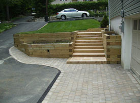 Wood hardscape with steps.