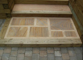 Wood hardscape with steps angel 1.