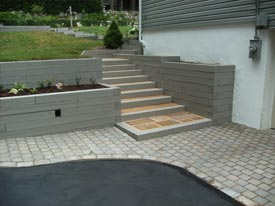 Wood hardscape with steps angel 2.