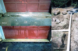 Garage drainage system repair.